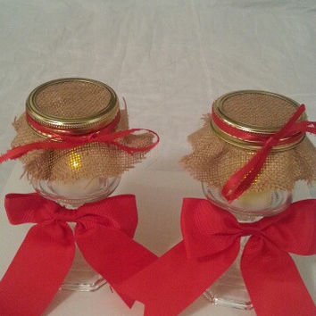 Burlap red and red wedding candle jar / center piece set. Any color to match your wedding