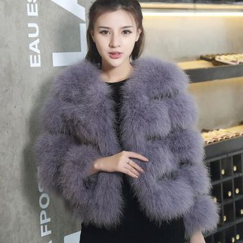 Hot Sale 2017 fashion sexy Ostrich wool fur plus size women coat feather fur women winter jackets and coats
