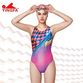 Yingfa 2018 NEW Professional competition one piece triangle training swimsuit  chlorine resistant  women's swimwear bathing suit