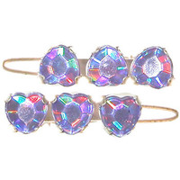 "7/8"" Barrettes with Holographic Stones, pair"