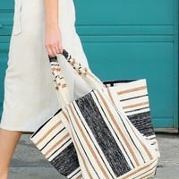 Peru Striped Shopper Tote by LOVE STICH