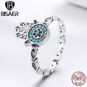 PRE-ORDER BISAER 925 Sterling Silver Lucky Blue Eye Anel Hamsa Hand Rings for Women Vintage Fatima Hand Engagement Ring Jewelry
