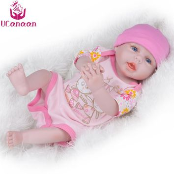 UCanaan 20'' 50CM Full Silicone Doll Reborn Blue Brown Eyes Girls Dolls Baby Born Lifelike Alive Newborn Toys For Children Gifts
