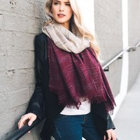 Two Tone Ombre Frayed Scarf (final sale)