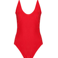 Regine Red Tie Up Bodysuit