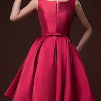 Wine Red Plunge Neck Bowknot Waist Lacing Back Prom Skater Dress - Choies.com