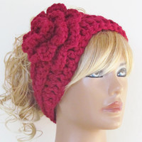 Red Crocheted Headband With Rose Ear Warmer Turban Cozy Exclusive Favorite Women's Crochet Fashion Hair Accessories
