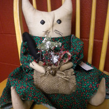 Cat Doll, Primitive Doll, Soft Sculpture Cat, Christmas Holiday Decor, Winter Doll Accent, Cat & Crow,