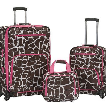 "F228-PINKGIRAFFEP Pasadena 19"", 28""Spinner Luggage Set"