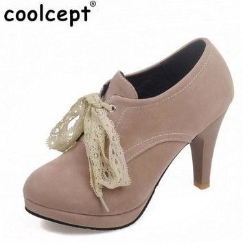 Women Fashion High Heel Ankle Boots Woman Round Toe Platform Botas Sexy Lace Cross Strap Heels Shoes Footwear Size 34-45