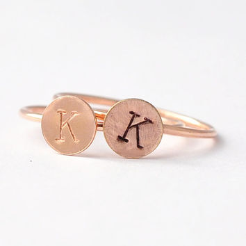 Initial Rings: Rose Gold Personalized Letter Ring, Inexpensive Christmas Gifts