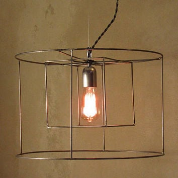 Minimal Raw Steel Cylindrical Cubical Cage Pendant Industrial Hanging Light
