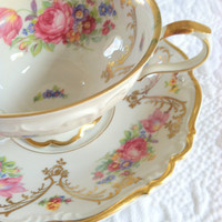 Antique Edelstein Bavaria/German Teacup and Saucer/Tea Party/Cottage Style