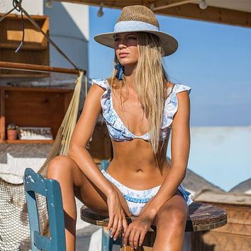 New Design blue Printed Deep V flounce Swimwear Bikinis Set