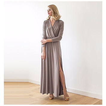 Taupe Long Sleeve Maxi Wrap Dress With High Slit LAVELIQ