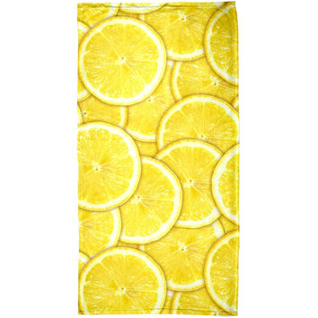Lemon Lemons Citrus All Over Beach Towel