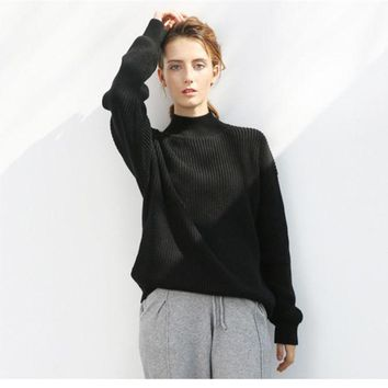VLXZGW7 All-match Simple Loose Knit Sweater