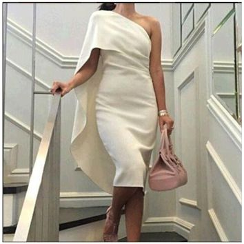 2017 Evening Dresses Straight Off the Shoulder Sleeveless One Shoulder Tea Length Evening Gowns White Simple Free shipping