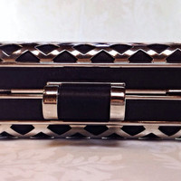 40's Retro Style Hard Case Black & Silver Clutch by Mercivintage