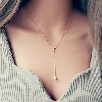 Womens Rose Gold Pearl Pendant Necklace +Gift Box
