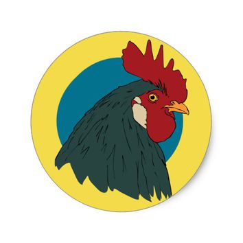 Rooster Illustration Clipart Chicken Farm Animal Classic Round Sticker