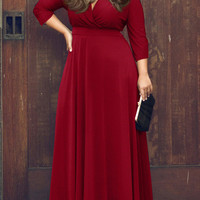 Red V Neck Half Sleeve High Waist A-line Skater Maxi Dress