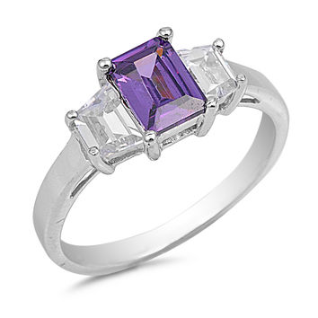 Sterling Silver CZ Simulated Amethyst and Simulated Diamond Three-Stone Emerald-Cut Ring 8MM