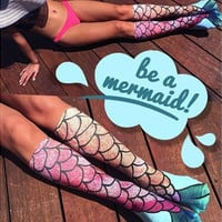 2016 Hot Sale Women Mermaid Pattern Fish Scale Print Socks Funny Cosplay Beach Socks One Size (Size: M, Color: Multicolor) [8833661132]
