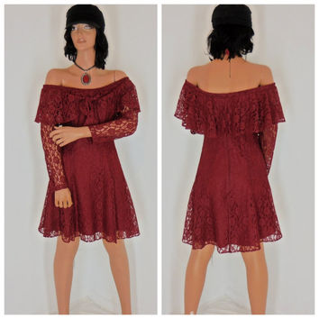 Lace mini dress, size 5 / 6, burgundy off the shoulder, boho chic, made in USA