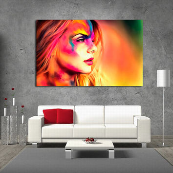 "Canvas Print Artwork Stretched Gallery Wrapped Wall Art Painting Modern Girl Face Rainbow Multicolor Large Size 28x44"" (can4)"