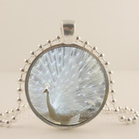 """White Peacock bird, glass and metal 1"""" pendant necklace Jewelry."""