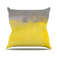 "CarolLynn Tice ""A Simple Abstract"" Yellow Gray Throw Pillow"