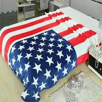 Cool American Flag Warm Air Conditioning Throw Blanket for Bedroom Living Rooms Sofa
