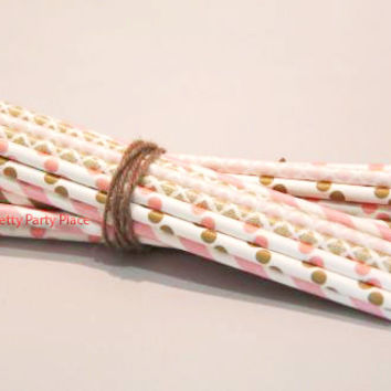 PINKS AND GOLDS Straws, Paper Straws, Multipack, Party Decor,Damask, Striped, Dots, Vintage, Shower, Weddings, Paper Straws Cheap, 25 Straws