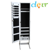White Mirrored Jewelry Cabinet Armoire Mirror Organizer Storage Box Ring W/Stand
