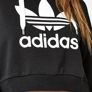 DCCKJH6 adidas Black Trefoil Pullover Cropped Hoodie