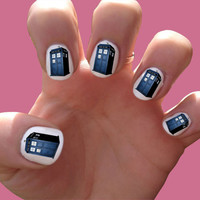 Doctor Who // Tardis // Police Box //  Nail Decals by SokayDesigns