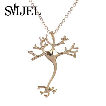 SMJEL 2017 New Fashion Science Hippie Chic Neuron Brain Nerve Cell  Necklace Colar Boho Neuron Fashion Necklaces for Women N197