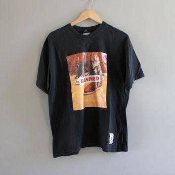 MDIGUG7 Vintage 80s Michael Jordan Air Jordan 1 Fight Nike T-shirt Authentic Black Jordan Tee