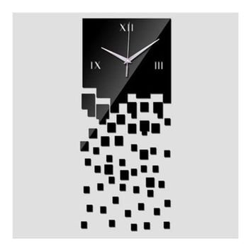 Mirror Wall Clock 3D Decoration Square Mosaic  black