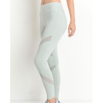 active hearts - cross mesh panel full-length leggings - mint