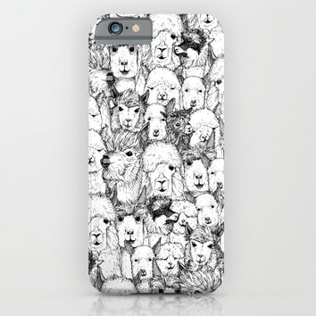 just alpacas black white iPhone & iPod Case by Sharon Turner