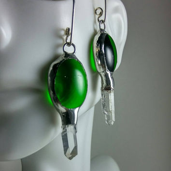 Stained Glass Earrings, Stained Glass Jewelry, Green glass nuggets with crystal points Crystal Earrings, Quartz Crystal Earrings, Boho Chic