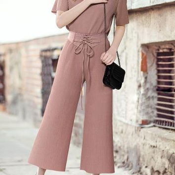 Lotus Pink Draped 2-in-1 Drawstring Waist Casual Nine's Jumpsuit