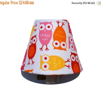 SALE Pink Owl Night Light / Baby Girl Nursery Decor / Yellow Red Hot Pink Orange / Girls Room Bedroom Bathroom / Urban Zoologie Robert Kaufm