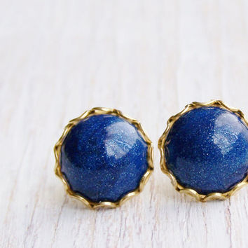 Navy blue stud earrings, navy post earrings, nautical earrings, polymer clay jewelry, navy and gold jewelry