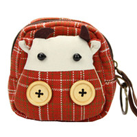 Red Cow Pattern Canvas Coin Keys Purse Handbag