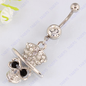 Skull skeleton body piercing belly button ring fashion  navel ring jewelry belly bar Nickel-free Retail 14G 316L surgical steel