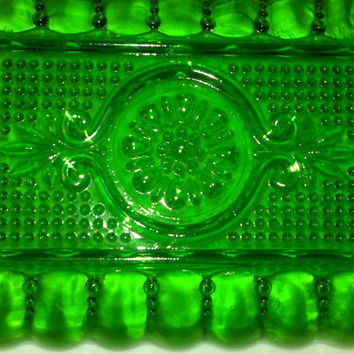 Vintage Indiana Green Glass Relish Dish with side Handles and Raised Bubble Design, Dark Green Glass, Vintage Candy Dish