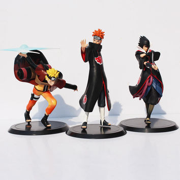 Anime  Naruto Action Figure Toys 1set=Uzumaki Naruto + Pain + Uchiha Sasuke PVC Action Figure Model Toys  Free Shipping